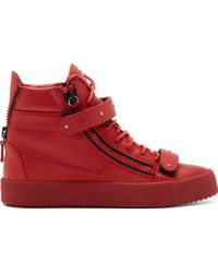 Giuseppe Zanotti Red Leather London High_top Sneakers - Lyst