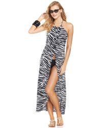 Kenneth Cole Reaction Zebra-Print Maxi Dress Cover Up - Lyst