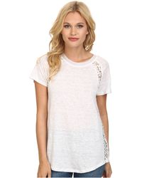 Rebecca Taylor Short Sleeve Linen Lace Tee - Lyst