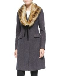 Vera Wang - Tailored Herringbone Coat W/faux-fur Collar - Lyst