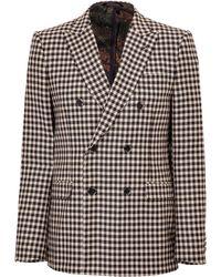 Etro Wool Checked Blazer - Lyst