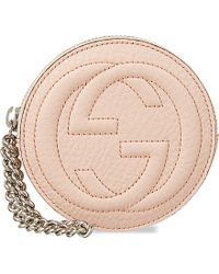 Gucci Logo Leather Wristlet Handbag - Lyst