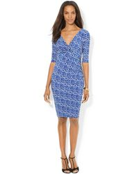 Lauren by Ralph Lauren Printed Faux-wrap Dress - Lyst
