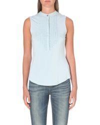 Karen Millen Jersey Ruffle Shirt Blue - Lyst