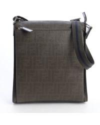 Fendi Dark Green Leather Zucca Zip Top Messenger Bag - Lyst