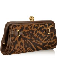 Alexander McQueen Convertible Leopard-Print Calf Hair And Leather Clutch - Lyst