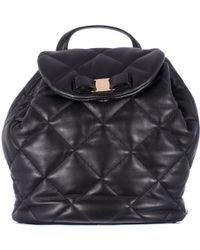 """Ferragamo Quilted Black Leather """"Giuliette"""" Backpack black - Lyst"""