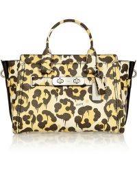 Coach Le Fauve Swagger Leopard-Print Textured-Leather Tote - Lyst