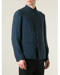 Giorgio Armani 'Mao' Buttoned Jacket blue - Lyst