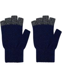 Oliver Spencer - Blue Contrast Trim Wool Blend Gloves - Lyst