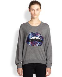 Markus Lupfer Lara Sequined Lips Wool Sweater - Lyst