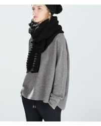 Zara Black Knitted Scarf - Lyst