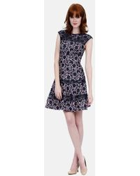 Kay Unger Bonded Lace Fit & Flare Dress - Lyst