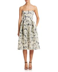 Nicholas Strapless Daisy-Mesh Dress floral - Lyst
