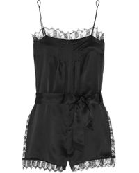 Eres - La Pagode Richelieu Leavers Lace-trimmed Silk-satin Playsuit - Lyst