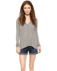 Vince Lightweight Double V Sweater - Heather Stone - Lyst