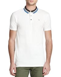 Marc By Marc Jacobs Multistriped-Collar Cotton Polo Shirt white - Lyst