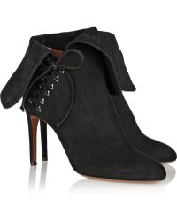 Alaïa Fold-Over Suede Ankle Boots - Lyst