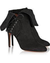 Alaïa Fold-Over Suede Ankle Boots black - Lyst