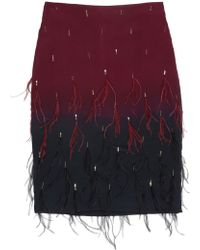 Nicole Miller Ombre Feathers Skirt - Lyst
