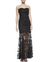 Aidan By Aidan Mattox Strapless Laceoverlay Illusionhem Gown Black - Lyst
