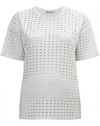 T By Alexander Wang Circular Hole Short Sleeve T-Shirt white - Lyst