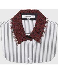 Carven Poplin Stripe Lace Collar red - Lyst