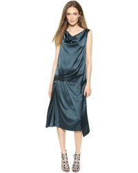 Donna Karan New York Sleeveless Dress With Elastic Detail - Teal - Lyst