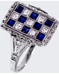 Spectrum Checkered Board Diamond And Sapphire Ring silver - Lyst