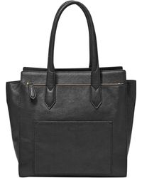 Fossil Knox Leather Tote - Lyst