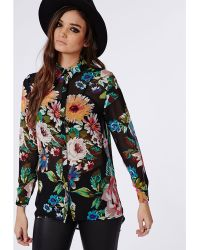 Missguided Bright Floral Print Chiffon Slim Fit Shirt Black - Lyst