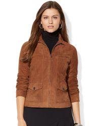 Lauren by Ralph Lauren Suede Full Zip Jacket - Lyst