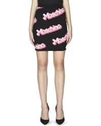 Moschino Logo-detail Knitted Skirt Black - Lyst