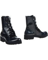 Thompson - Lace-Up Patent-Leather Combat Boots - Lyst