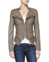 Dawn Levy Jenna Peplum Zip-off Leather Jacket - Lyst