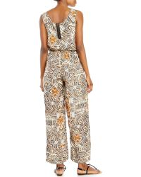 Pink Rose - Printed Wide Leg Jumpsuit - Lyst
