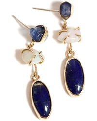 Melissa Joy Manning Raw Sapphire, Crystal Opal And Sapphire Slice Three Drop Earrings - Lyst