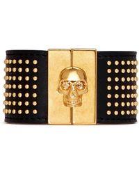 Alexander McQueen Stud Skull Leather Bracelet - Lyst