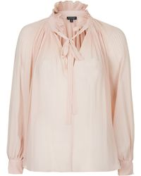 Topshop High Neck Pleated Pussybow Top - Lyst