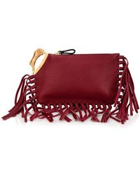 Valentino Ram-Handle Fringed Leather Clutch - Lyst