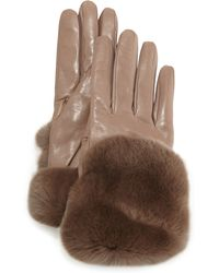 Gala - Fur-trimmed Leather Gloves - Lyst