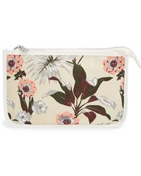 Maison Scotch Women'S Floral Print Canvas Cosmetics Bag - White - Lyst