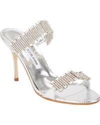 Manolo Blahnik Dallifaco Crystal-Strap Sandals - Lyst