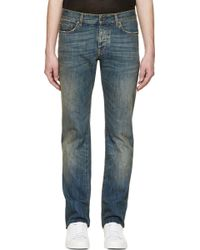Saint Laurent Blue Vintage Wash Jeans - Lyst