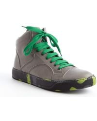 Lanvin Grey Leather And Green Printed High Top Sneakers - Lyst