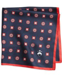 Brooks Brothers Navy and Red Medallion Pocket Square - Lyst