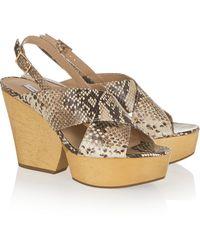 Diane von Furstenberg Liberty Snake-Effect Leather Wedge Sandals - Lyst