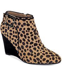 Isaac Mizrahi New York | Winona Cheetah Print Wedge Booties | Lyst