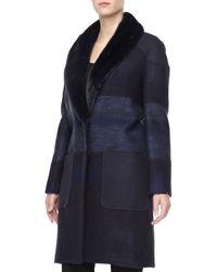 Carolina Herrera Tweed Mink Furcollar Coat - Lyst