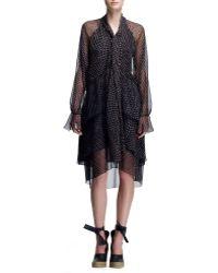 Chloé Long-sleeve Tie-neck Chiffon Dress - Lyst